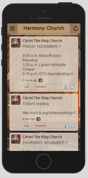 Social Event Feed on Church Mobile App